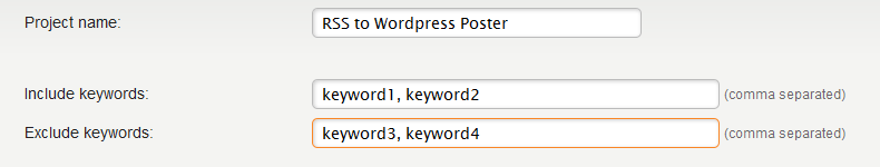 exclude include keywords option
