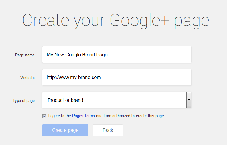 create new Google brand page