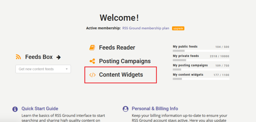 Content widgets manager